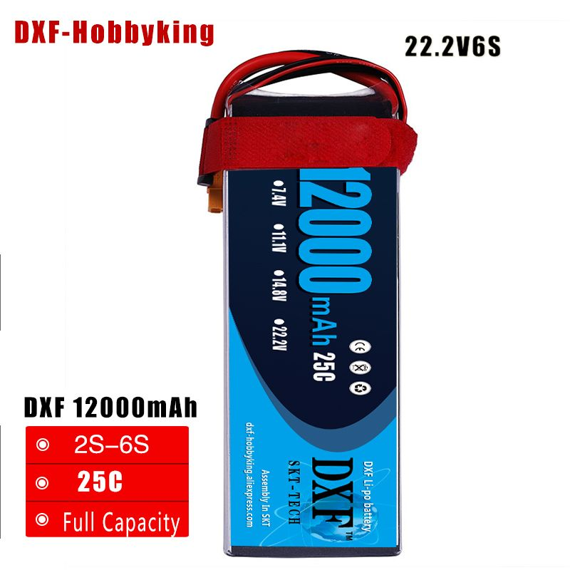 DXF Good Quality Lipo Battery 22.2V 6S 12000MAH 25C-50C RC AKKU Bateria for Airplane Helicopter Boat FPV Drone UAV