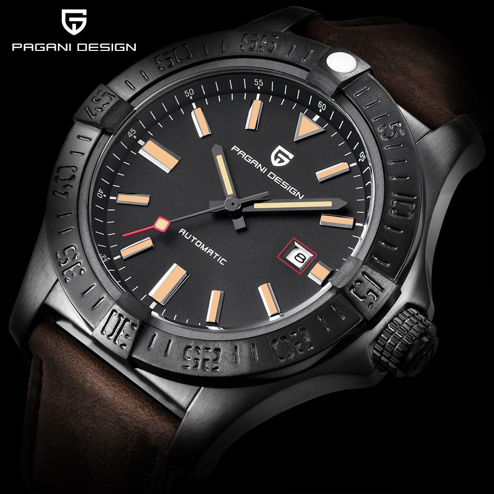 PAGANI DESIGN Top Marke Neue männer Klassische Mechanische Uhren Wasserdicht 30 M Echtes Leder Luxus Große zifferblatt Automatische Uhr