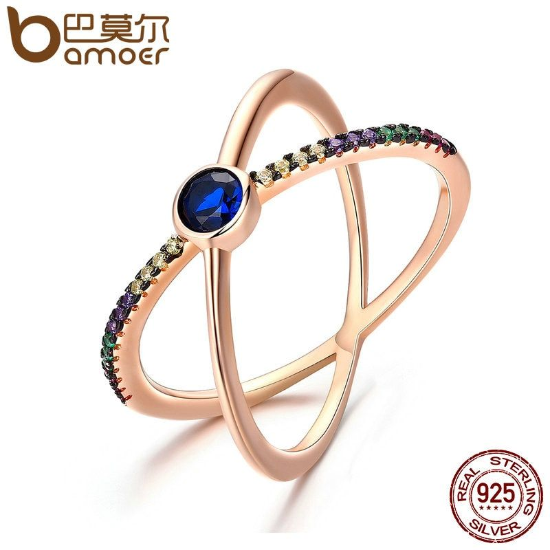 BAMOER Design New 925 Sterling Silver & Gold Sparking Galaxy Crystal Double Layer Finger Rings for Women Wedding Jewelry SCR119