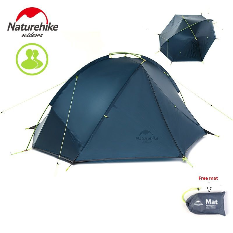 Naturehike Factory Store FREE MAT ultralight Tagar tent 1-2 person outdoor camping hiking 3 Season Double Layer Windproof Tent