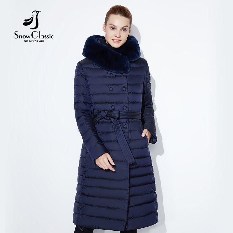 SnowClassic 2018 new winter long jacket fashion women warm coat winter outwear solid slim thick jacket front edge fox fur collar
