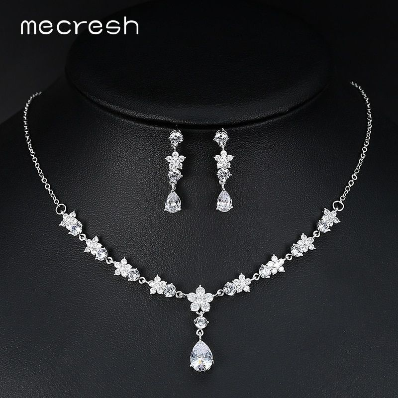Mecresh Luxury Cubic Zirconia Bridal Jewelry Sets Flower-Shape Silver Color Party Wedding Necklace Set Engagement Jewelry MTL530