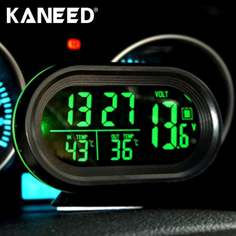 Digital Auto Car Thermometer Car Battery Voltmeter Voltage Meter Tester Monitor 12V / 24V Noctilucous Clock Freeze Alert