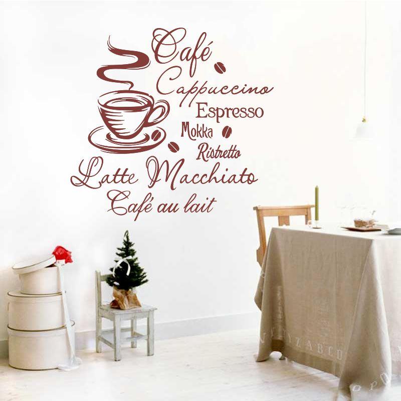 Café Cuisine Vinyle autcollants muraux Cuisine sweat tricoté amovible autocollant mural Stickers décoration d'intérieur décoration d'intérieur art mural DW1045