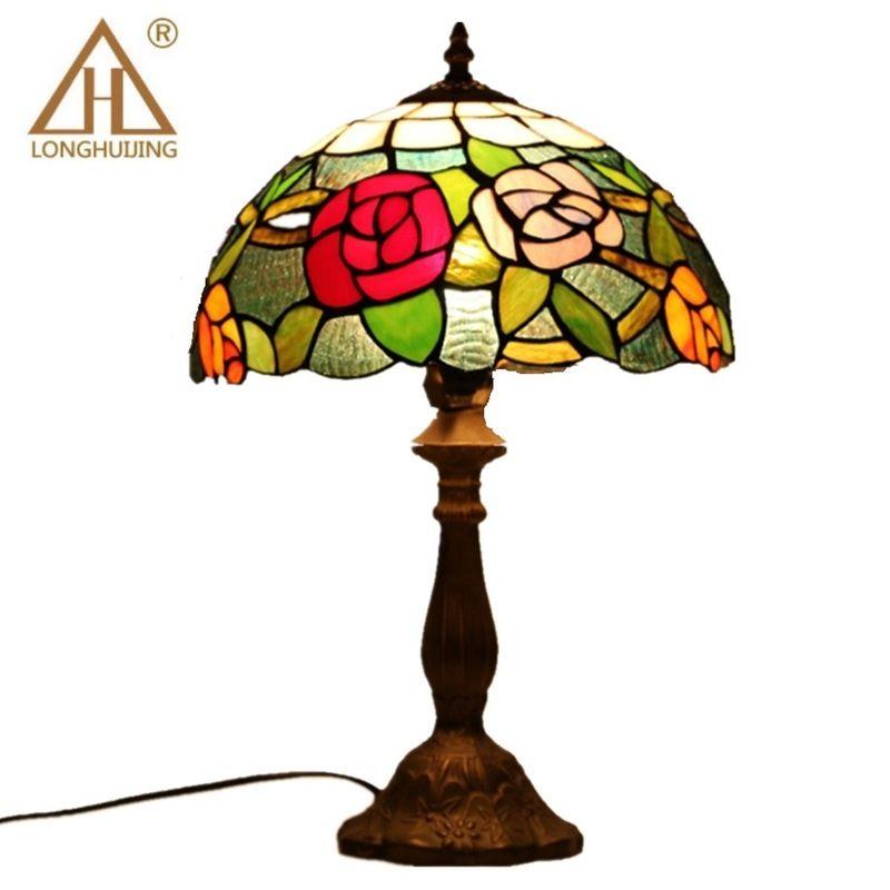 Tiffany Tisch Lampe E27 Barock Schlafzimmer Nacht Lampe Kreative Mode Retro Tisch Lampe