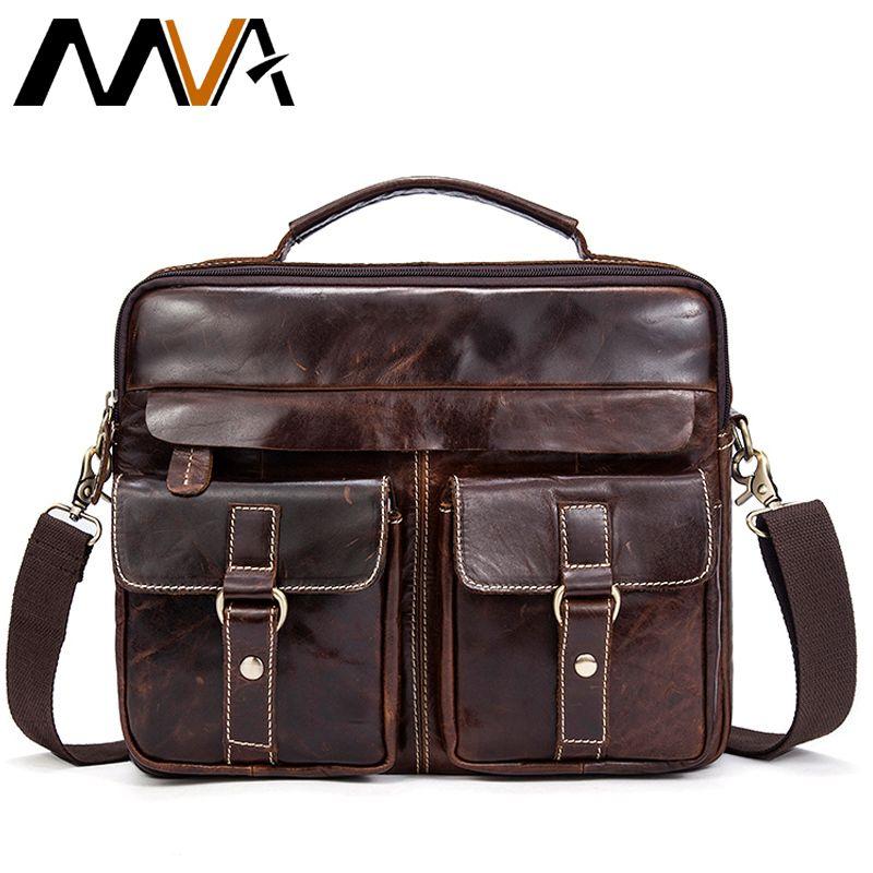 MVA Messenger Bag Men Genuine Leather Men Bag Male Briefcase Shoulder Leather Laptop Bag Crossbody Bags for document Handbags