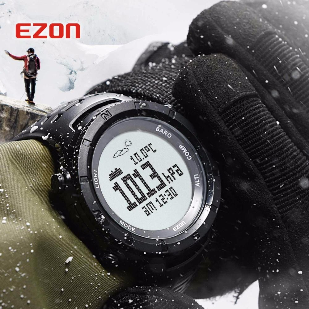 New EZON Sports Watch Men Casual Electronic Altimeter Barometer Compass Wristwatches Alarm 50M Waterproof Digital Stopwatch