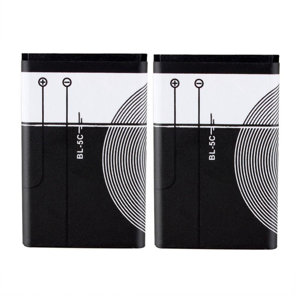 2 Stücke Marke Neue Ersatz 1020 mah Akku BL-5C Für Nokia 1112 1208 1600 1100 1101 Telefon Batteria