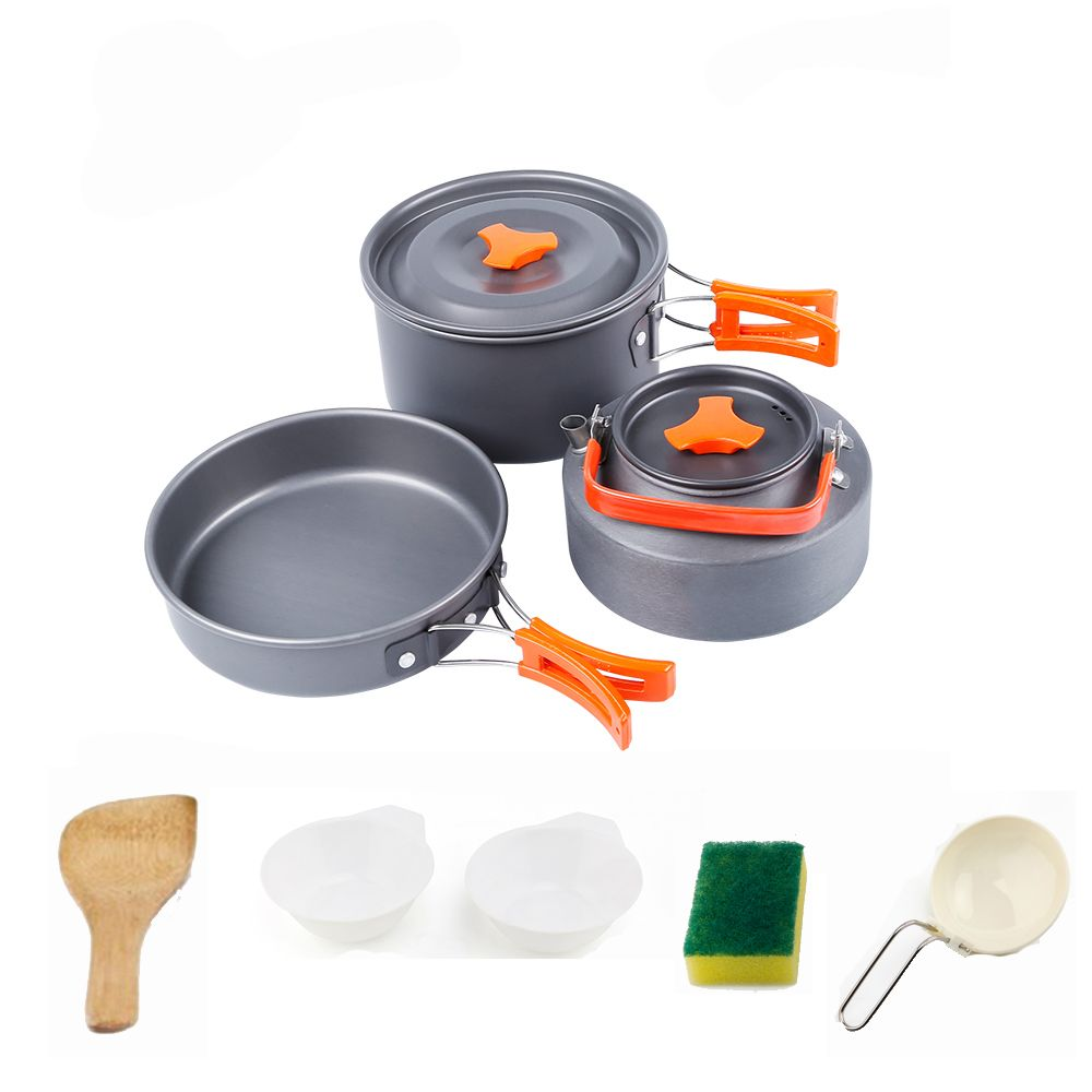 Portable Camping Pot Pan Kettle Set Outdoor Aluminum Alloy Tableware 2-4peoples Hiking Cookware Teapot Cooking for Picnic Set