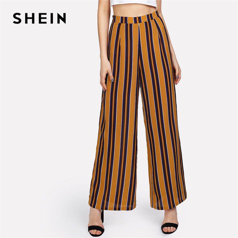 SHEIN Zip Up Wide Leg Striped Pants Women Fashion New Clothing Mid Waist Loose Trousers 2018 Female <font><b>Elegant</b></font> Full Length Pants