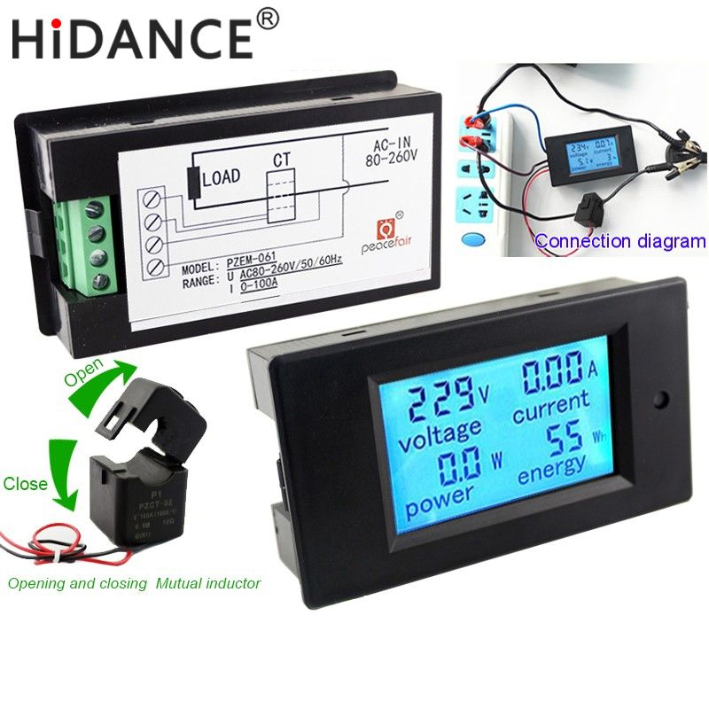 Voltmètre numérique AC tension mètres 80 ~ 260 V/100A énergie ampèremètre analogique watt ampères de courant Volt mètre LCD panneau moniteur