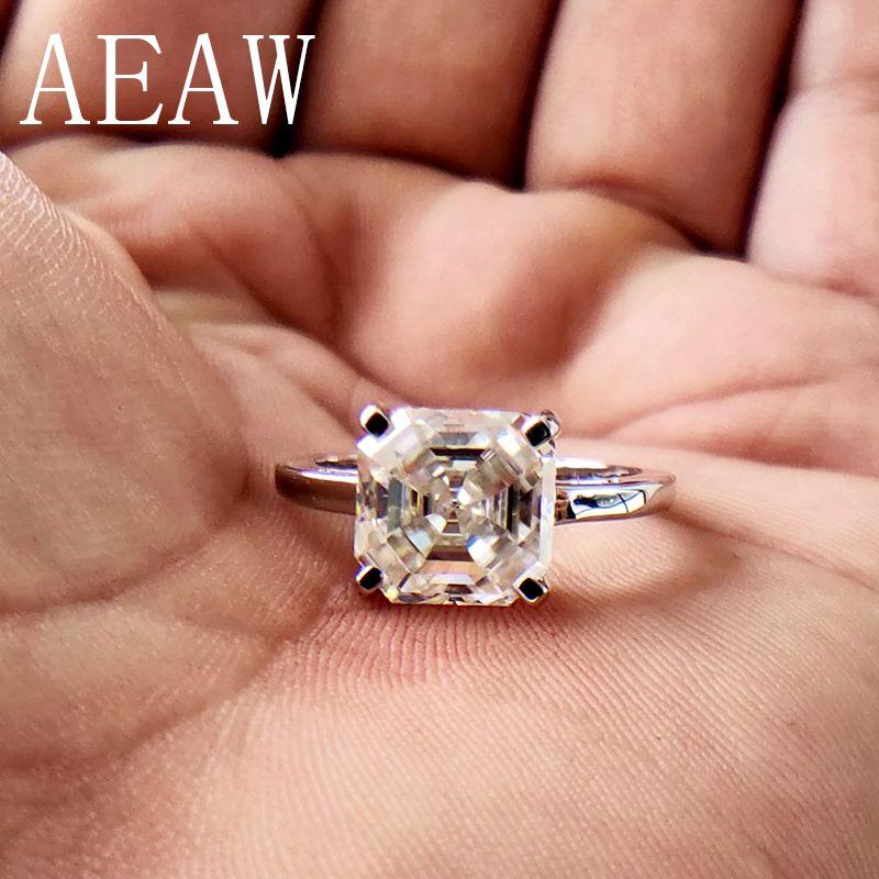 2 Carat Asscher Cut Moissanite Labor Diamant Ring Set HALLO Farbe Ausgezeichnete Passenden Band Ring Für Frauen Solide 10 karat weiß Gold