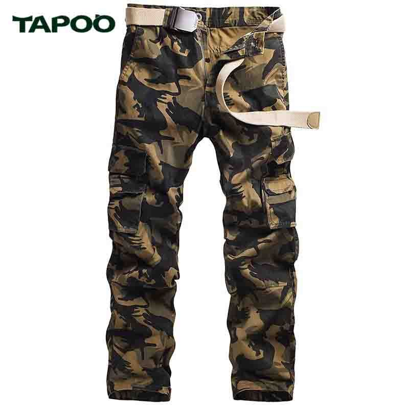 TAPOO Men's Pants Tactical Camouflage Pants Military Pants Outwear Cargo Army Green Male Overalls Casual Trousers