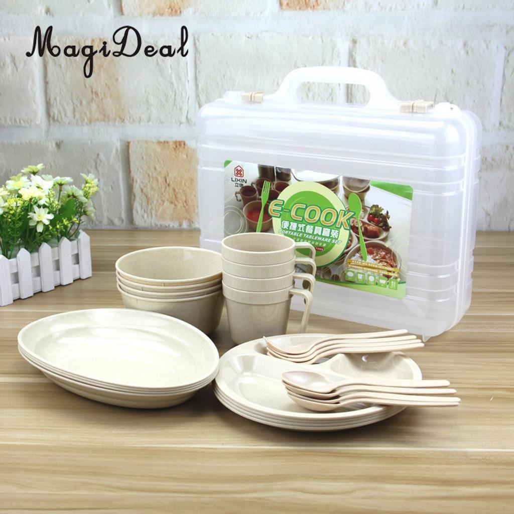 MagiDeal 24Pcs (4 Mugs 4 Soup Bowls 4 Spoons 4 Forks 8 Plates) Food Grade Reusable Outdoor Party Picnic Camping Tableware Set