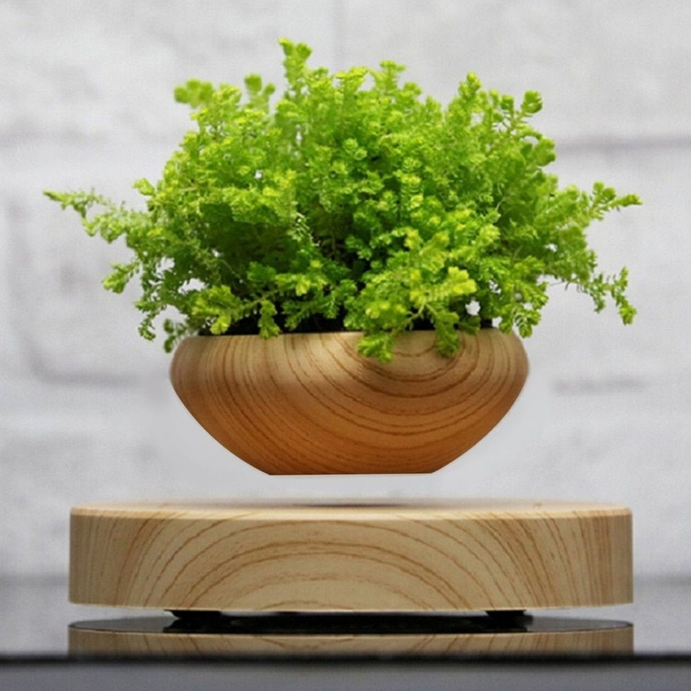 Magnetic Base Suspended Potted Plant Wood Grain Round LED Levitating Indoor Air Plant Pot for Home and Office Decoration Tool