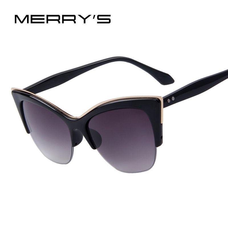 MERRY'S Women Half-Frame Cat Eye Sun glasses Women Brand Designer Summer Style Sun Glasses Oculos de sol UV400