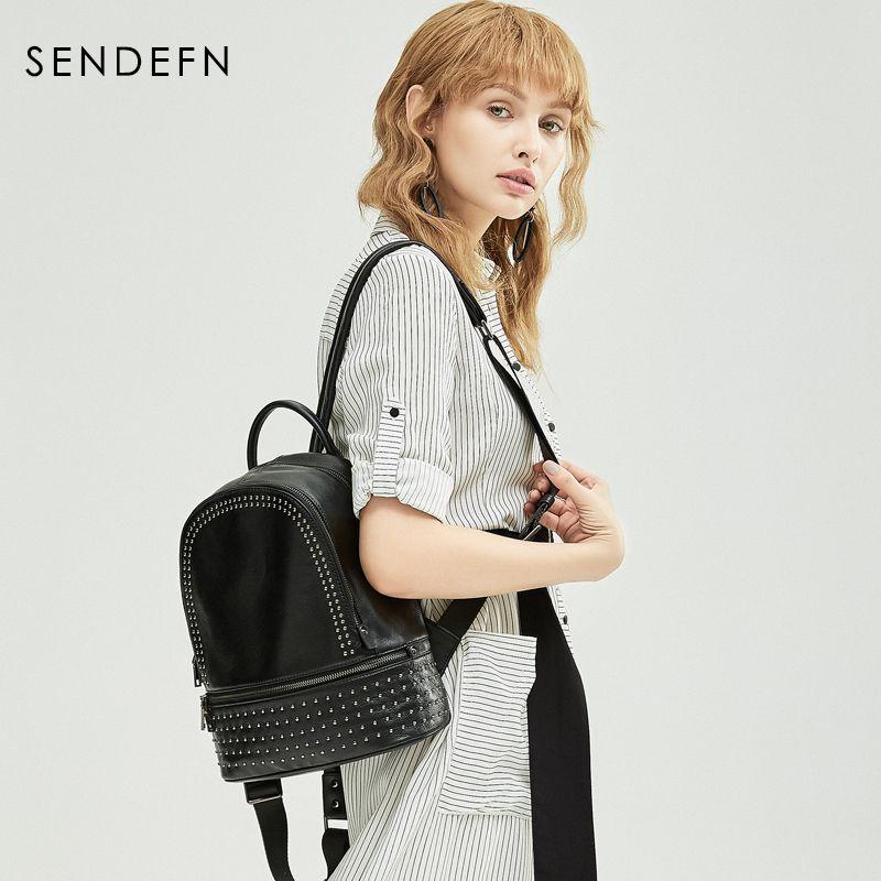 Sendefn Genuine Leather Backpack Large Capacity Rivet Black Shoulder Bag Women Casual Backpack Teenage Girls School Travel Bags