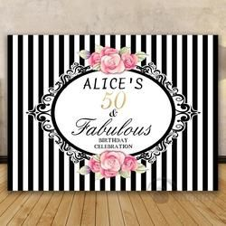 DIY Custom Baby Shower Black And White Vertical Striped Pink Rose Party Background Computer print birthday photo backdrop