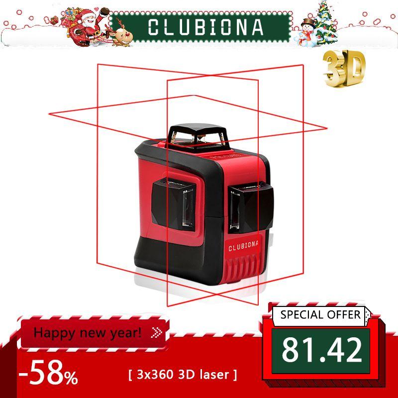 CLUBIONA 3D 360 rotatif 12 croix niveau Laser lignes avec tilt slash fonction, vertical et horizontal Super Puissant récepteur OK
