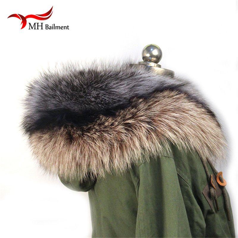 Winter 100% Reale Natürliche Pelz Kragen & Damen Schals Mode Mantel Pullover Schals Kragen Luxus Waschbären Pelz Hals Kappe L #97