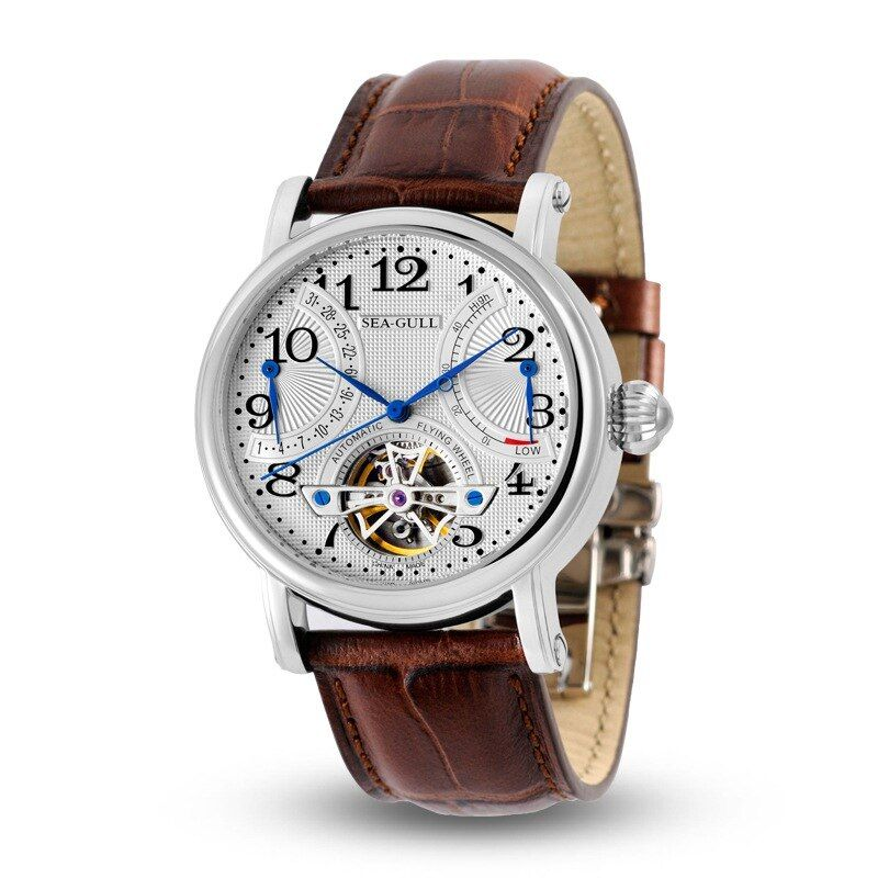 Leisure Automatic Mechanical Genuine Leather Waterproof Watch with Rome Digital Business for Various Occasions M172S.Brown