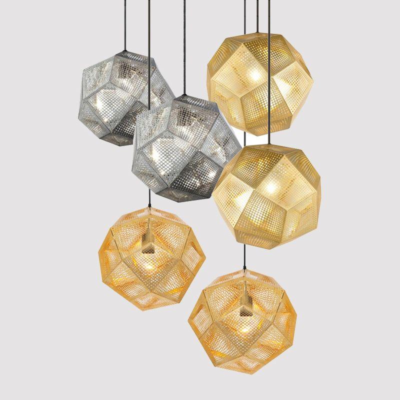Modern Industrial Pendant Lights Hotel/Restaurant/Bar Pendant Lamps Gold/Silver Stainless Steel Art Geometry Net Lighting