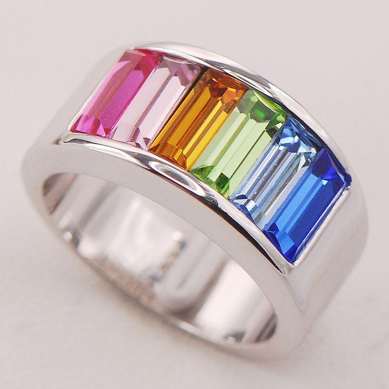 Синий Кристалл Циркон Перидот морганит Для женщин 925 Серебряное кольцо f772 Размеры 6 7 8 9 10