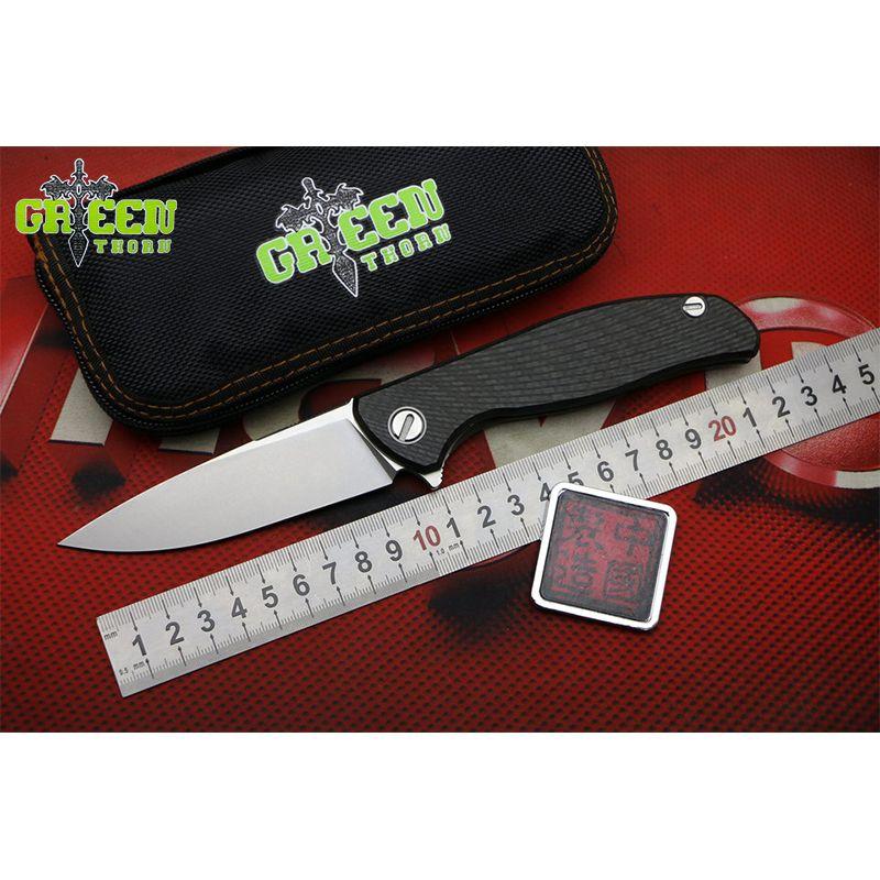 GREEN THORN HATI F95 Custom Flipper folding knife M390 blade CF + Titanium Handle Outdoor Camping EDC tools Hunting pocket kniv