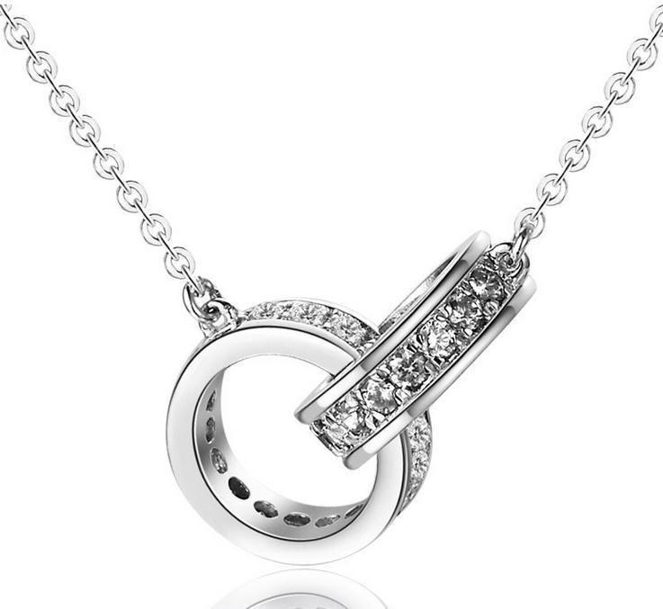 2016 nouveau design double cercle cristal de mode 925 sterling argent à chaîne courte colliers bijoux en gros prix