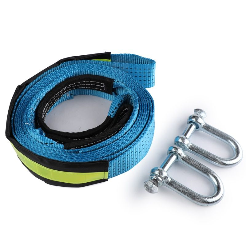 5M 8 Tons Winch Tow Cable Tow Strap Car Towing Rope With Hooks High Strength Nylon &Gloves For Heavy Duty Car Emergency Off Road