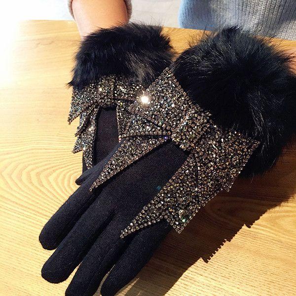 Women's Winter Wool Touch Screen Gloves Rhinestone Luxury Bowknot Fur Gloves Female Mittens Cashmere Warm Gloves Luva