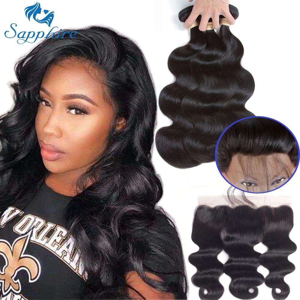 Sapphire Brazilian Hair Weave Bundles Body Wave Bundles With Frontal Human Hair 2/3 Bundles With Closure Frontal Hair Extension