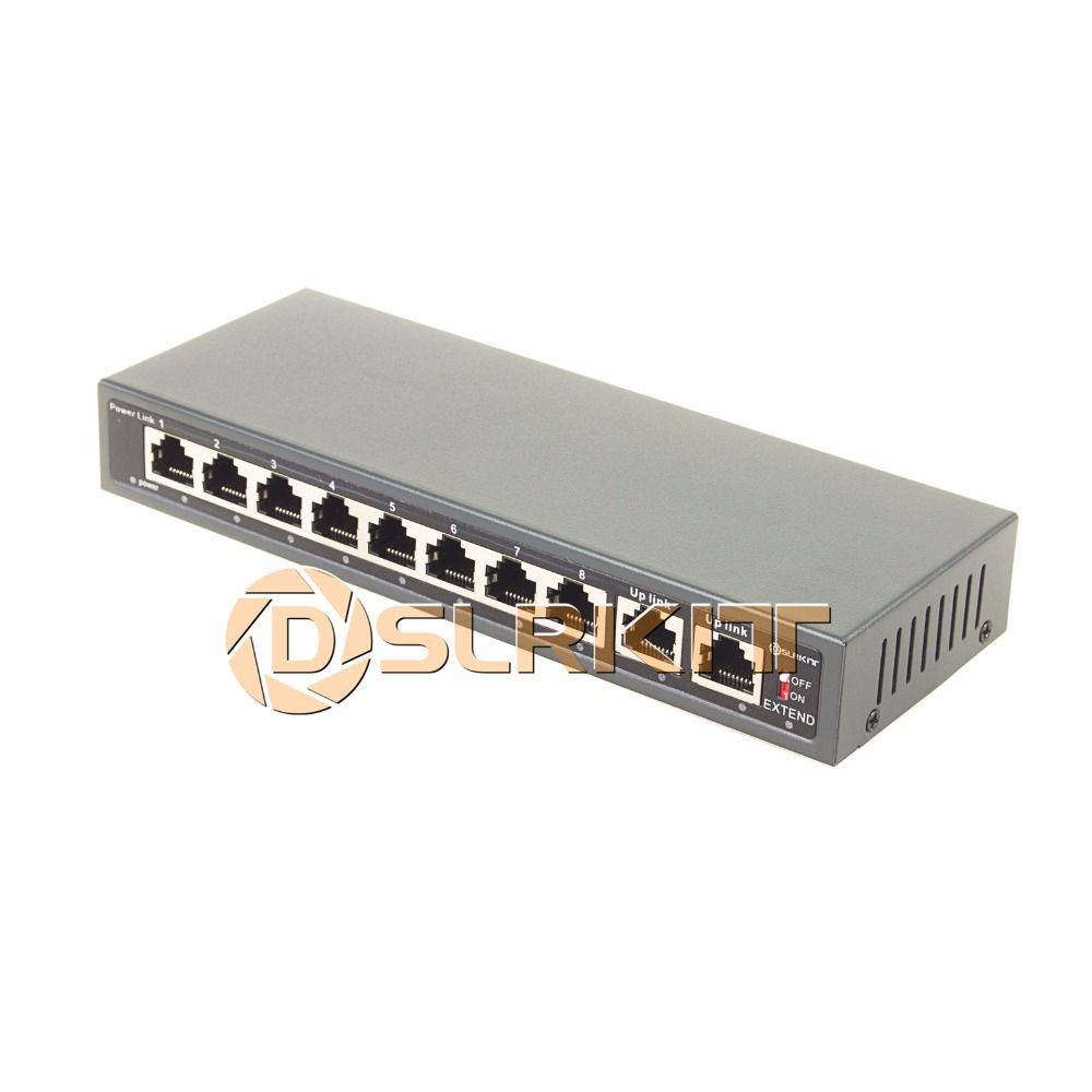 DSLRKIT 250M 10 Ports 8 PoE Switch Injector Power Over Ethernet without Power Adapter