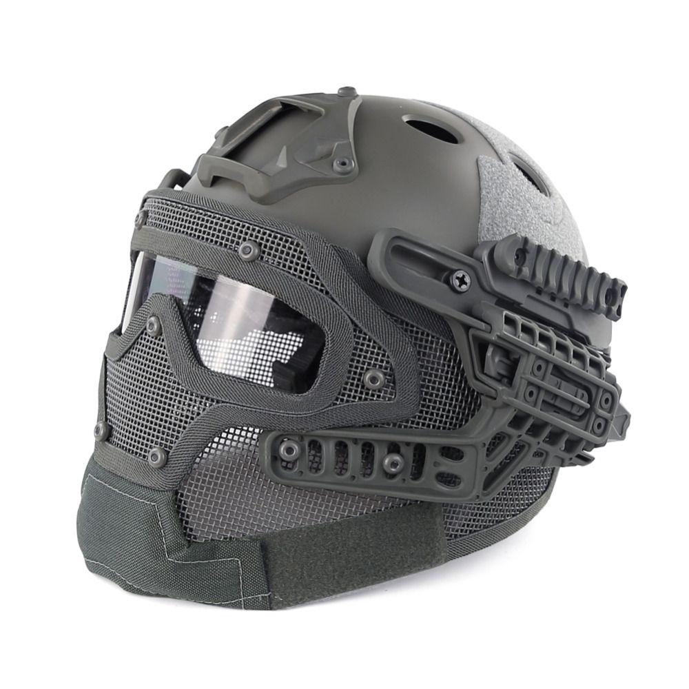 Grau PJ Art SCHNELLE Molle Taktische Helm Kombiniert Mit Vollmaske und Schutzbrillen für Airsoft Paintball CS Jagd Outdoor