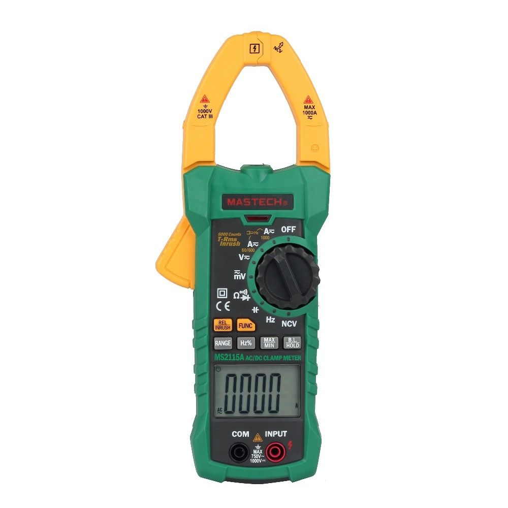 MASTECH MS2115A Digital Clamp Meter True RMS AC/DC Current 6000 Counts Voltage Resistance Capacitance NCV Tester