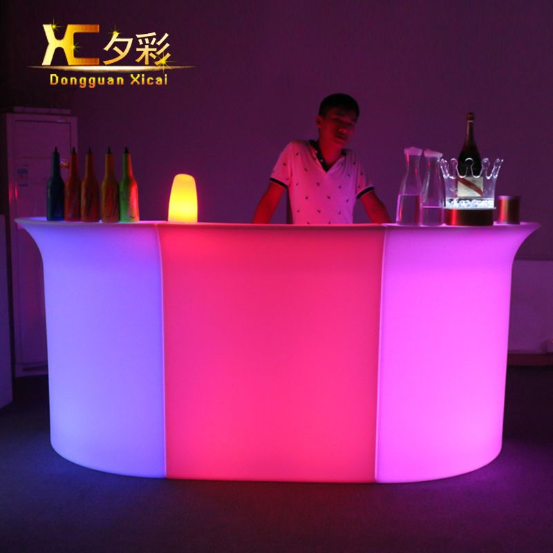 Plastic LED Bar Table Color Changing Bar Counter Club Waiter Mobile Counters with ice cooler