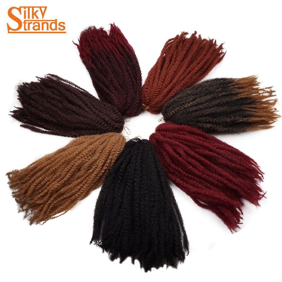 Silky Strands Afro Kinky Marley Braidings Hair Bulk Soft Crochet Braids Hair Extensions Synthetic Ombre Braiding Hair