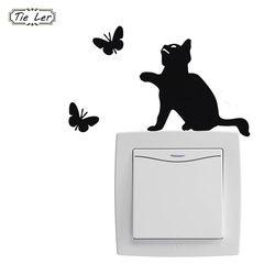 1 Pc Cute Kucing Switch Stiker Stiker Dinding Dekorasi Rumah Jendela Kamar Dekorasi Dinding Stiker Dekorasi Kartun