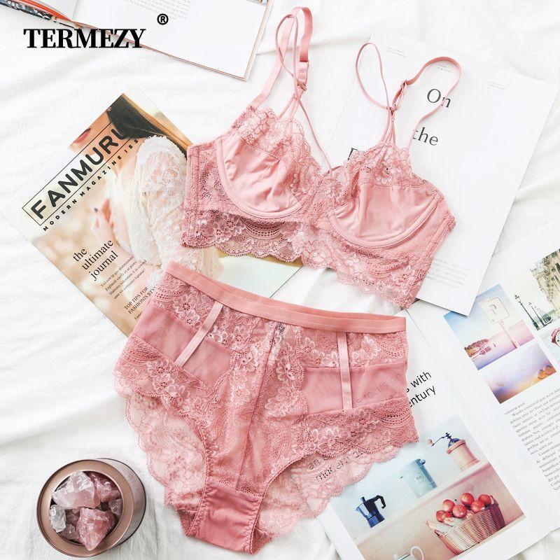 TERMEZY classique Bandage rose soutien-gorge ensemble Lingerie Push Up brassière sous-vêtements en dentelle ensemble Sexy taille haute culotte pour femmes sous-vêtements