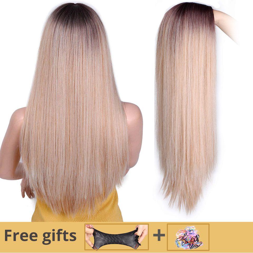 Je de une perruque Longue Ligne Droite perruque synthétique Mixte Brown et Blonde Longues Perruques pour Blanc/Noir Femmes Moyen Partie nature Perruques