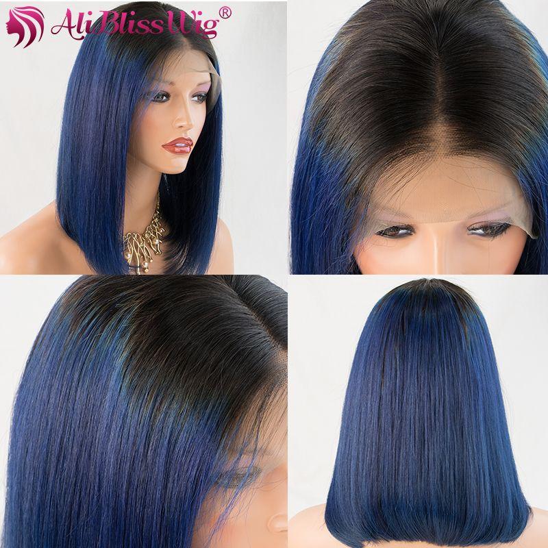 Blue Ombre 100% Human Hair Wig Short Bob Wigs For Women 3inch Brazilian Remy Model Picture 16inch AliBlissWig