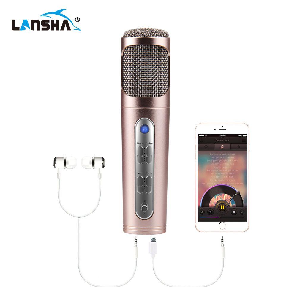LANSHA Maison Karaoké Microphone À Condensateur Professionnel Studio Mic USB Chant Vidéo Enregistrement Microphone pour Smartphone PC De Voiture