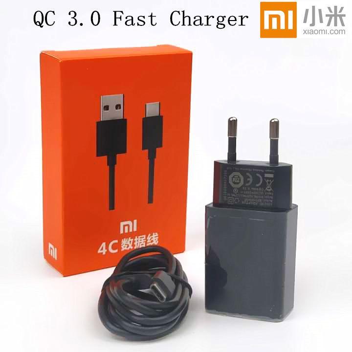 Original XIAOMI MI5S Charger mi5 mi4c mi4s mi 5s 5 4c 4s EU plug QC 3.0 travel Adapter Quick Fast Charge Usb type c cable
