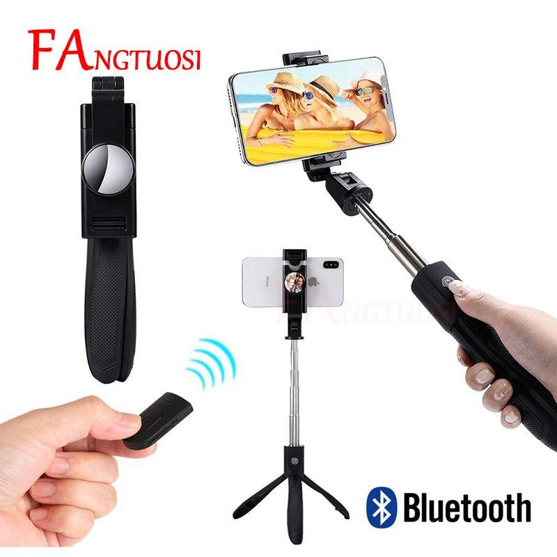 FANGTUOSI 2019 nouveau bâton de Selfie Bluetooth sans fil avec miroir 3 en 1 pliable monopode de poche Mini trépied avec obturateur à distance