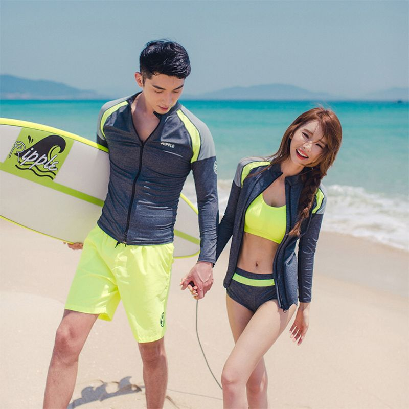 Solid patchwork yellow and grey M-3XL couples rash guards zipper long sleeves shirt bra brief leggings shorts lover surfing suit