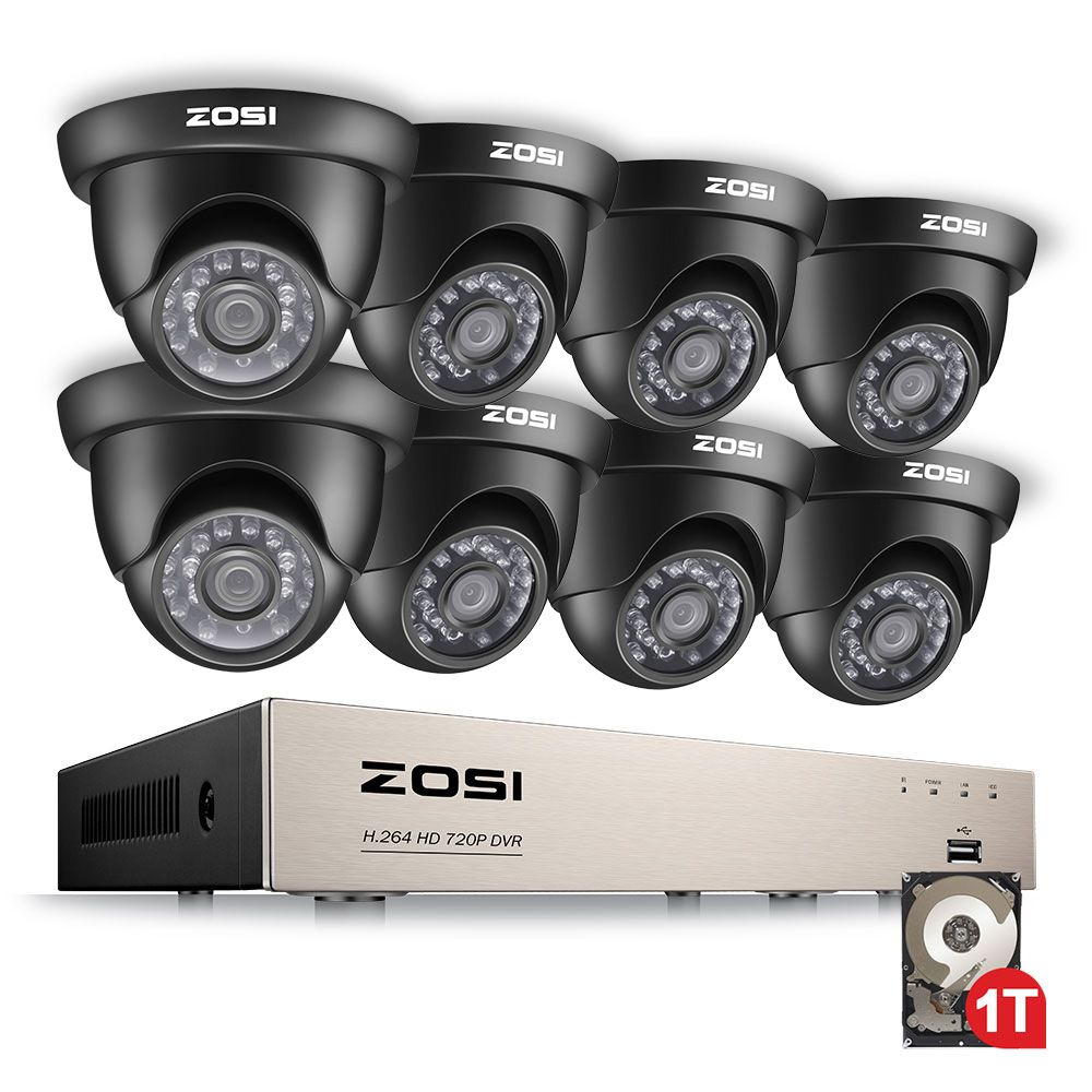 ZOSI 1080N HDMI DVR 1280TVL 720P HD Outdoor Home Security Camera System 8CH CCTV Video Surveillance DVR Kit 1TB Camera Set