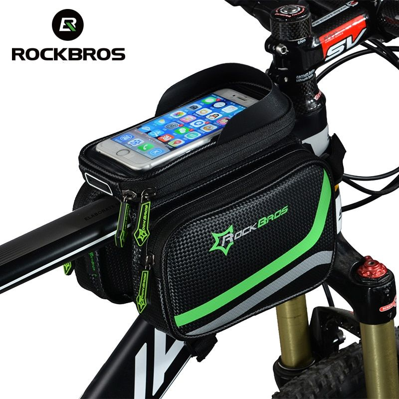 ROCKBROS MTB Bicycle Frame Front Bag Head Top Tube Double IPouch Touch Cycling Pannier For 5.8 /6 <font><b>inch</b></font> Smartphone Touch Screen