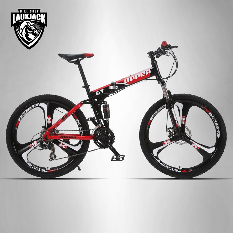 UPPER Mountain bike two-suspension system steel folding frame 24 speed Shimano mechanical brake discs alloy wheel