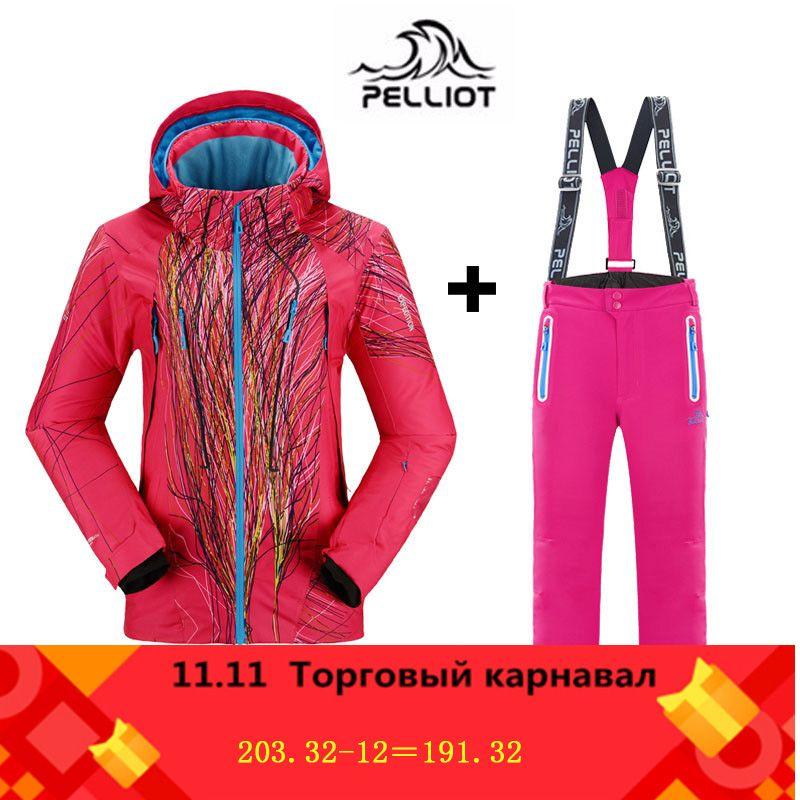 Berühmte Marke Pelliot Frauen Ski Anzüge Jacken + Hosen Warme Winter Wasserdichte Skifahren Snowboarden Kleidung Set ski jacke und hose