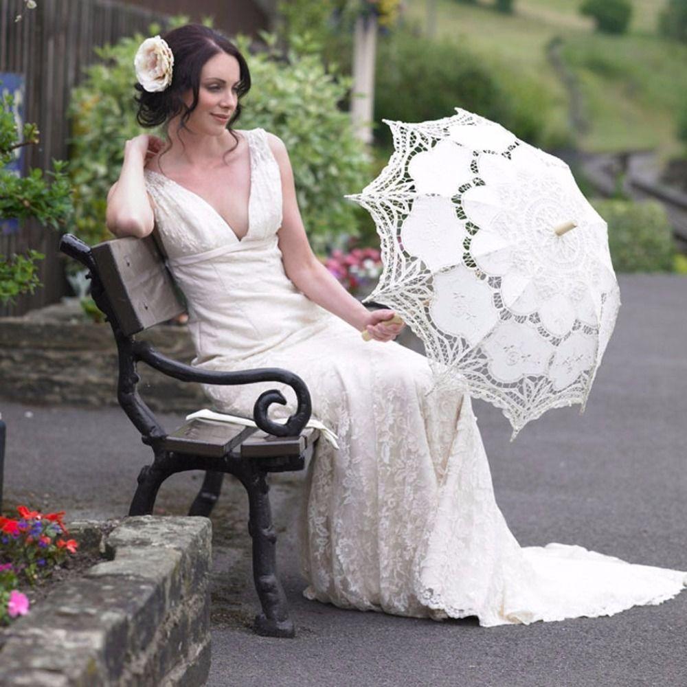 Blanc mariage dentelle Parasol parapluie victorien dame Costume accessoire nuptiale fête décoration Photo Props-L1